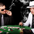 Two gangsters playing some cards — Stock Photo