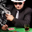 Black suit gangster — Stock Photo