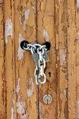 Worn wooden door detail — Stock Photo