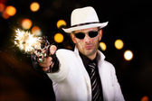 White suit gangster firing a gun — Stock Photo