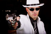 White suit gangster with a gun — Stock Photo
