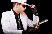 White suit gangster — Stock Photo
