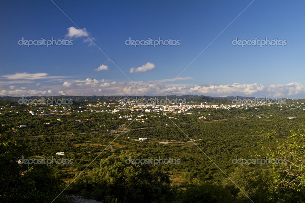 Wide landscape view of the small city S.Bras de Alportel located on the Algarve, Portugal. — Stock Photo #6042471