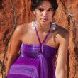 Beautiful young girl with purple dress — Stock Photo #6554887