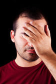 Embarrassed male man — Stock Photo