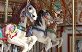 Tres caballos de carrusel — Foto de Stock
