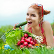 Royalty-Free Stock Photo: Beautiful happy woman with colourful vegetables