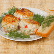 Foto Stock: Three appetite cutlets with bread