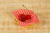 The small basket with cherry — Stock Photo