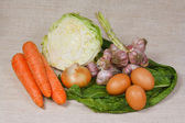 The fresh vegetables and eggs from kitchen garden — Stock Photo