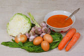 The soup, egg and vegetables from kitchen garden — Stock Photo