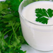 The kefir and fresh greens — 图库照片
