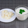 The cottage cheese, kefir and greens for healh - Lizenzfreies Foto