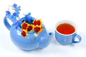 The blue kettle with flowers and cup of tea — Stock Photo