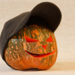 The sad and cheerful halloween pumpkin — Stock Photo