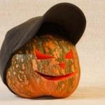 The sad and cheerful halloween pumpkin — Stock Photo
