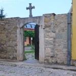 The door in old catholic church in Kamenets Podolskiy — Stock Photo #6645319