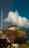Old boat repair — Stock Photo