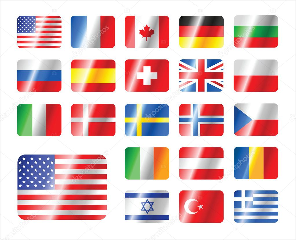 Vector set world flag icons.There is in addition a vector format EPS 8. — Stock Vector #5657423