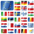EUROPEAN UNION FLAGS - SET OF BUTTONS - Stok Vektör