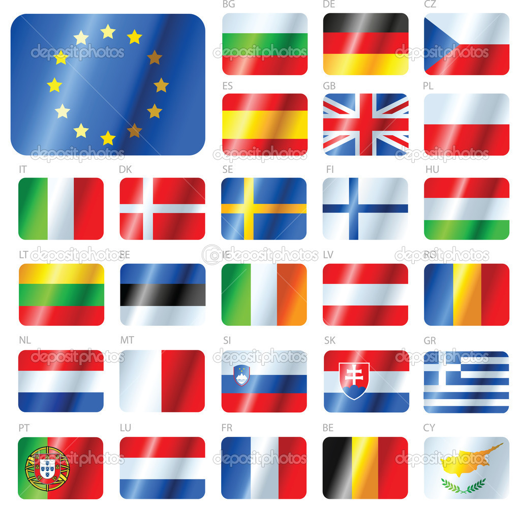 Glossy flags set. Union European countries. Vector illustration. — Stock Vector #5785835