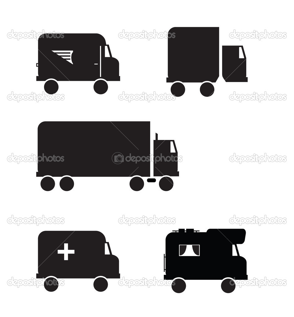 Black transportation vehicle icons. All unique services.   Stock Vector #5606553