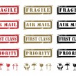 Grungy Shipping Labels And Icons — Stock Vector #5825922