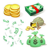 Money And Coins — Stock Vector