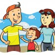 family beach — Stock Vector