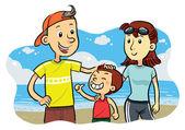Family Beach — Stock Vector