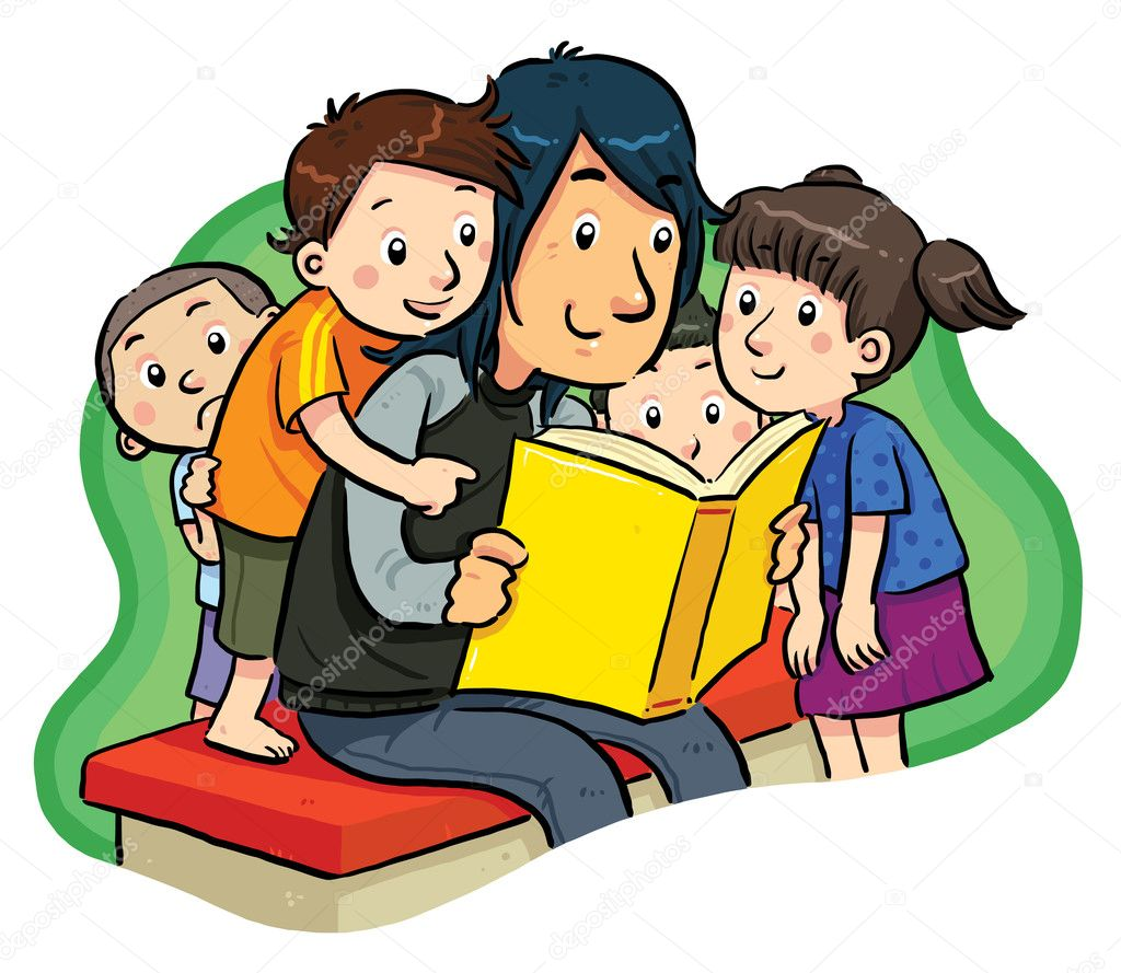 Reading book with kids. — Stock Vector #5791992