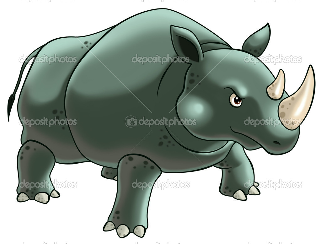 Rhinoceros cartoon illustration for kids. — Stock Photo #6503595