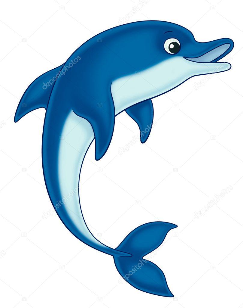 孩子们的海豚卡通插图