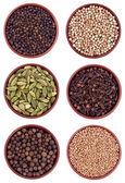 Ceramic bowls ful of pepper, coriander, cardamon, allspice — Stock Photo