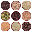 Assortment of different spices in ceramics bowls — Stock Photo