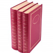 Vertical stack of three red books isolated - Photo
