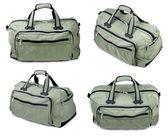 コラージュ。wyite 上の緑色の袋 isolatet — ストック写真