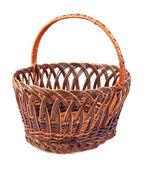 Wicker basket isolated on white background — Stock Photo