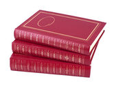 Horizontal pile of three red books — 图库照片