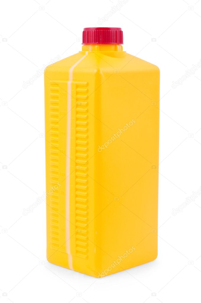 Yellow plastic canister isolated on white. — Stock Photo #5984666