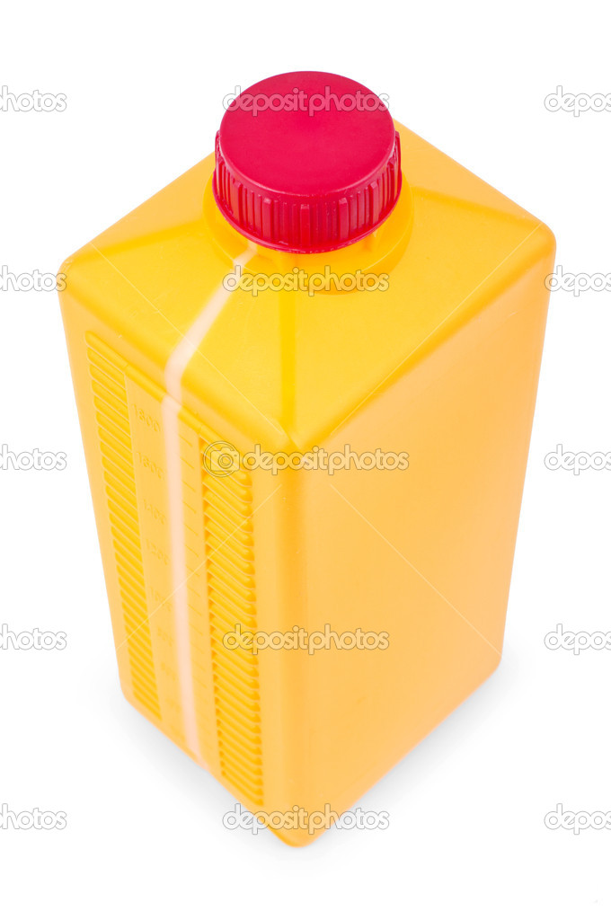 Yellow plastic canister isolated on white. wide angle  Stock Photo #5984675