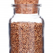 Glass bottle full of coriander seeds isolated on white - Stock Photo