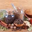 Stock Photo: Still life of different spices on wood