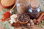 Still life of different spices on wooden — Stock Photo