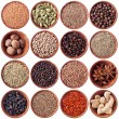 Stock Photo: Wooden bowls full of different spices