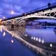 Sevillie, romantic panorama of the bridge and the riverside - Stock Photo
