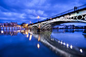 Sevillie, romantic panorama of the bridge and the riverside — Stock Photo