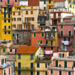 Stock Photo: Colourful texture of Manarolvillage of Cinque Terre - Italy.