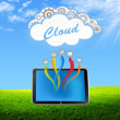 Tablet cloud on the green field — Stock Photo
