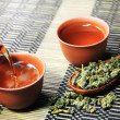 Chinese tea and leaf on bamboo mat — Stock Photo